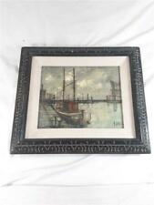 Michel Girard  - Harbor - Original Painting With Frame On Canvas