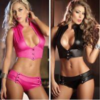 Women Shiny Lingerie PU Leather Bikini Underwear Swimsuit Bathing Suit Clubwear