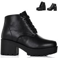 WOMENS LADIES BLOCK CHUNKY HEEL LACE UP PLATFORM ANKLE BOOTS SIZE 3-8