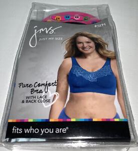 Just My Size JMS Pure Comfort Bra  Lace Back Close Blue Velvet Evening 1271 Plus