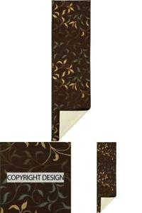 Runner Rug Area Rugs Floor Carpet Contemporary Leaves Design Chocolate 2Ft X 5Ft