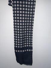 Vintage Retro Men's Trendy MOD Cotton Blend Style Thin Scarf Navy Blue