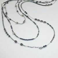 Silpada Sterling Silver Multistrand Hematite Seed Bead Dewdrops Necklace N2097