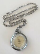 Works Vintage Retro Princeton Pendant Watch Swiss Wind Up Silver Tone Necklace