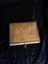 Italian handcrafted inlaid light burl wood musical jewelry box - plays Fur Elise