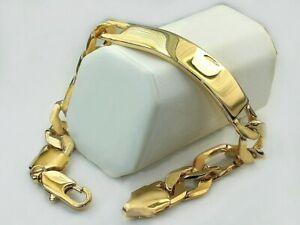"Men's ID Figaro Chain Bracelet 8"" inch x 10mm 21gr 18k Gold Layered Bracelet"