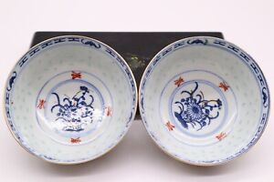 Chinese Antique Blue and White Porcelain Bowl Pair With Flowers