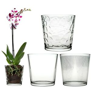 Pasabahce Round Glass Flower Vase Pot Display Decor Straight Lines/Mosaic/Clear