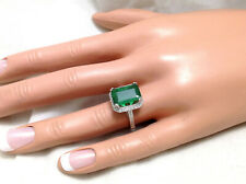 3.52ct Genuine Natural Untreated Emerald & Diamond Ring In Solid 14K White Gold