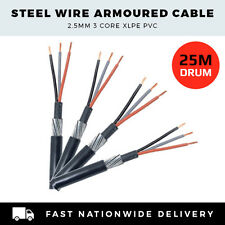 Steel Wire Armoured Cable 2.5mm 3 Core Sockets Cable per 25m Drum