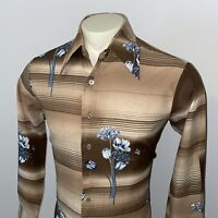 Vtg 60s 70s Mens LARGE Disco Shirt Ugly Print Polyester Big Collar FLEUR DE ROMA