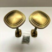 "Kirsch Designer Metal 3"" Transitional Square Medallion Drapery Holdbacks Bronze"