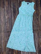 Womens L 14/16 Lands End Wrap Maxi Dress Soft Knit Paisley Mint