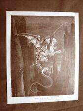 Incisione di Gustave Dorè del 1890 Gerione Le Malebolgie Divina Commedia Inferno