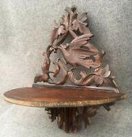 Small antique german black forest folding shelf 1930-40's woodwork bird