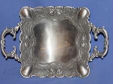 Vintage Ornate Floral Metal Footed Bowl Platter