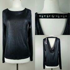 Dylan&Rose Black Mettalic Long Sleeve Top Faux Leather Collar Club Wear Sz M NWT
