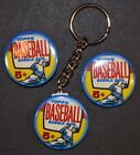 1957 Topps Baseball Wrapper Set of 3 Key Chain, Magnet and Pinback Button 1.50