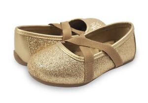 NIB Livie & Luca Aurora Gold Sparkle Shimmer Ballet Flat Shoes Size Baby Size 4