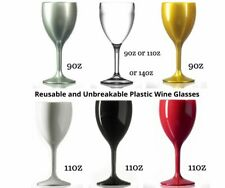 More details for plastic unbreakable & reusable wine glasses white silver gold red black silver