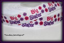"1YD 7/8"" BIG SISTER SCRIPT CRAFTS HAIRBOW PRINTED GROSGRAIN RIBBON PURPLE PINK"