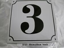 Hausnummer Mega Groß  Emaille Nr 3 schwarze Zahl weißer Hintergrund 20cmx20 cm
