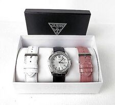 New authentic guess white ,black ,pink interchangeable straps watch set U0069L3