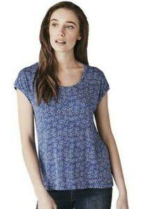 BNWT Crew Clothing Pleat Back Print Jersey Top T-Shirt Blue Size UK 12