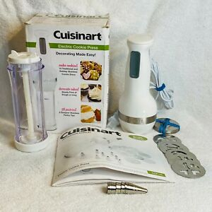 Cuisinart Electric White Cookie Press CCP-10 Complete with extra Holiday Discs