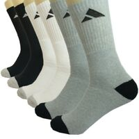 Adi 3 6 12 Pairs For Mens Sports Athletic Work Crew Cotton Socks Size 9-11 10-13