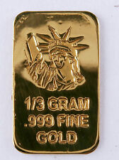 1/3 GRAM GOLD BAR OF 24K PURE .999 FINE GOLD STRATEGIC BULLION A2b