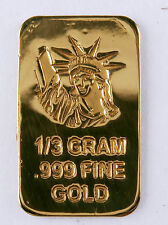 1/3 GRAM GOLD BAR OF 24K PURE .999 FINE GOLD STRATEGIC BULLION A6c