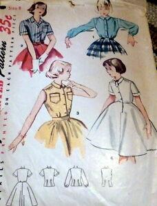 *LOVELY VTG 1950s GIRLS BLOUSE & BLOUSE - SLIP Sewing Pattern 8