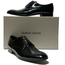 NEW Giorgio Armani Pebbled Leather 12 45 Men's Formal Dress Oxford Patent Tuxedo