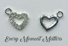 99G 10 ANTIQUE SILVER GREEN CRYSTAL HEART CHARM//PENDANT 10x12mm WEDDING~CARDS