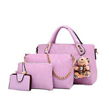 4PCS/Set Women Lady Leather Shoulder Bag Handbag Satchel Clutch Coin Purse Lot