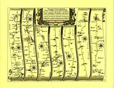 Warrington to Chester, Manchester to Derby Replica 17c Ogilby Road Map