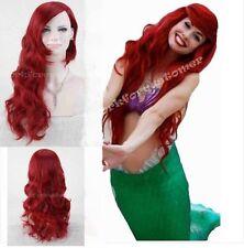 Women's Long Dark Red Little Mermaid Ariel Wig Wavy Cosplay Wig Costume+Hair Cap