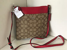 NEW! COACH SIGNATURE COURIER CROSSBODY SLING BAG KHAKI TRUE RED $135 SALE