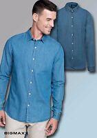 Kariban Uomo chambrayhemd Denim tessuto jeans camicia colore: Blu tg. S fino