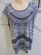 ROCKMANS NWOT SIZE L 16 BLACK WHITE TUNIC TOP STUNNING BACK FEATURE