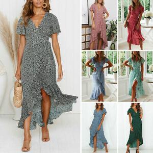 Womens V Neck Short Sleeve Midi Dress Floral Summer Ladies Ruffled Hem Sundress