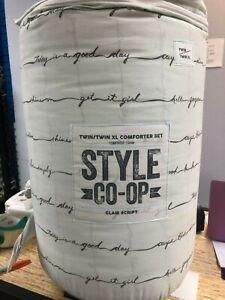 New Style Co-Op  DORM Comforter Set Glam Script Lt Green Twin or TXL TEEN!