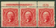 EDW1949SELL : USA 1903 Scott #301 Plate number Strip of 3. Mint OG. Catalog $60.