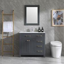 "36"" Bathroom Vanity White Ceramic Sink Undermount Cabinet W/Faucet Drain Mirror"