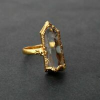 Exclusive Natural Rough Raw Crystal Gemstone Stackable Gold Plated Ring Jewelry