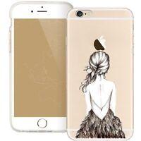 Coque gel souple impression motif fantaisie pour iPhone SE ( Dos de fille )