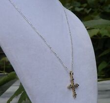 """18"""" Faceted Sterling Silver Bead Chain with Diamond Gold Vermiel Cross"""