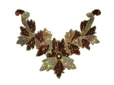 Sequin Bead Applique Belly Dance Motif Necklace Copper