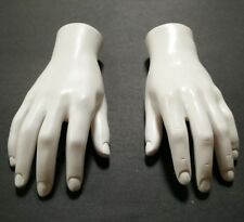 LESS THAN PERFECT MN-HandsM-WF2 PAIR OF WHITE LEFT/RIGHT Male Mannequin Hands